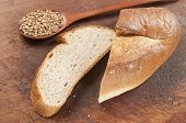 image of buckwheat  - Buckwheat bread with buckwheat on a wooden table - JPG