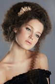picture of brooch  - Dreamy Gentle Serene with Frizzy Brown Hair and Golden Brooch - JPG