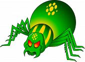 image of black widow spider  - evil green spider with yellow circles on the back - JPG