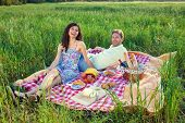 pic of vivacious  - Laughing vivacious couple on a summer picnic sitting on a red and white checked rug in a country field enjoying the warm sunshine and freedom of nature - JPG