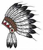 stock photo of indian chief  - native american indian chief headdress vector illustration - JPG