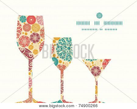 Vector abstract decorative circles three wine glasses silhouettes pattern frame
