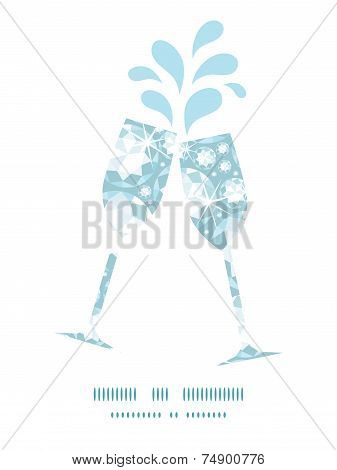 Vector shiny diamonds toasting wine glasses silhouettes pattern frame