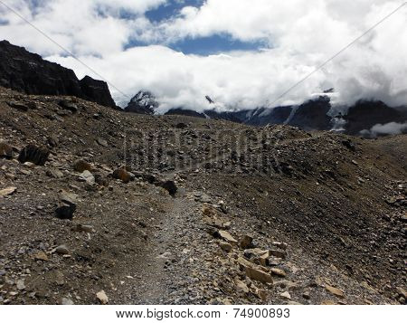 Trekker's Trail At 5400M In Himalayas During Monsoon