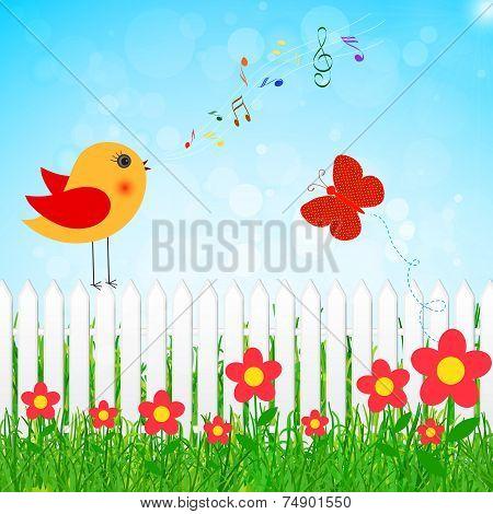 Bird Singing Vector