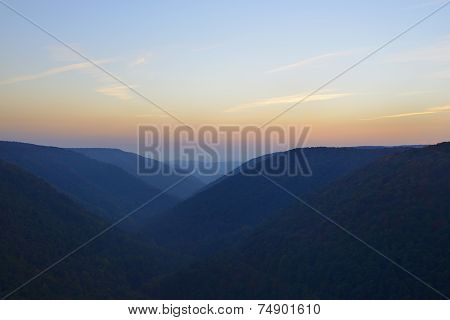 Mountains of West Virginia at Twilight