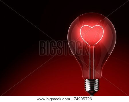 Light bulb lighting red with heart