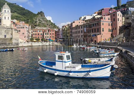 Boats In The Harbor In Vernazza