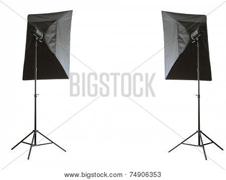Two studio lamps on white background