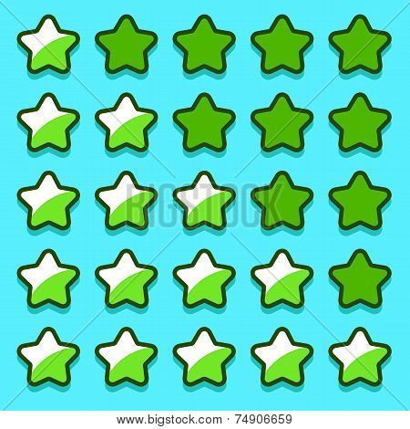 Green game rating stars icons buttons