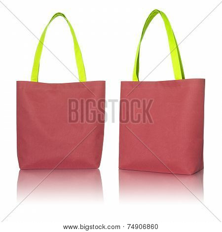 Red Shopping Fabric Bag On White Background