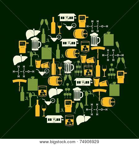 Alcohol Drinks Icons Set In Color Circle Eps10