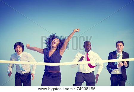 Business Woman Winning Race Concept