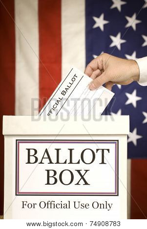 Ballot Box With Hand Voting (Vertical)