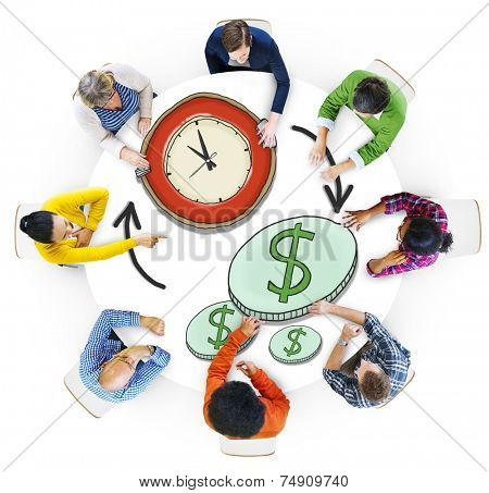 Multiethnic Group of People with Time and Money Concept