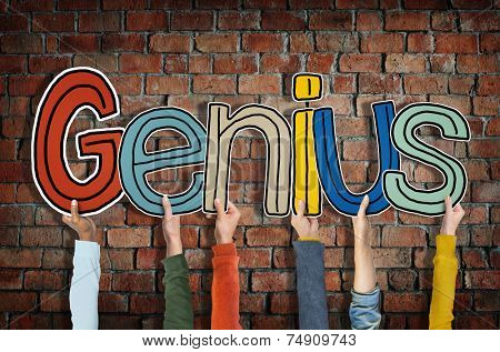Group of Hands Holding Word Genius