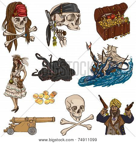 Pirates - Colored hand drawn illustrations