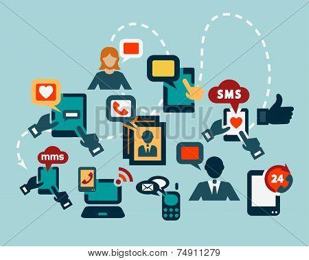 flat communication icons