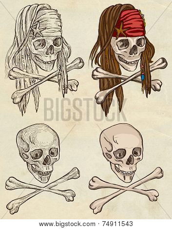 Pirates - Skulls Collection. Full Sized Hand Drawings On Paper.