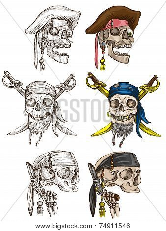 Pirates - Skulls Collection. Full Sized Hand Drawings On White.