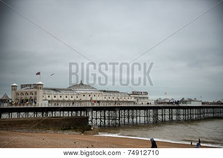 Brighton Pier Under Cloudy Overcast Skies, Brighton, England