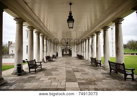 Colonnade with Benches at National Maritime Museum, London, England
