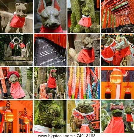 Collection of Fushimi Inari Taisha Shrine scenics, fox statue, thousands of torii, paper cranes of thousand etc.