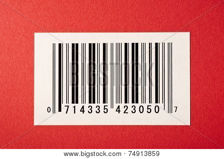 Bar Code on Red Textured Background