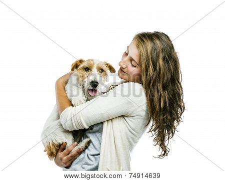 Woman playing with dog isolated