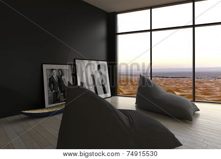 3D Rendering of Stylish Architectural House Room Design with Frames and Pillows on Floor. Perfect Place for Chilling with Overlooking Outside View from Glass Windows.