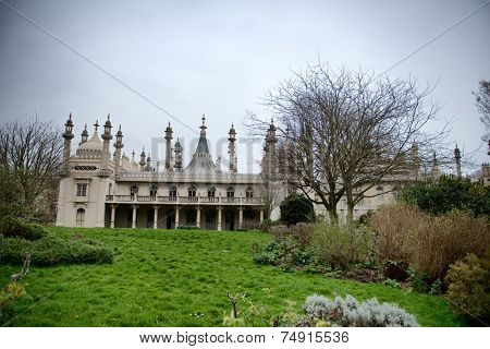 Gardens and Grounds of Brighton Royal Pavilion with Cloudy Skies, Brighton, England