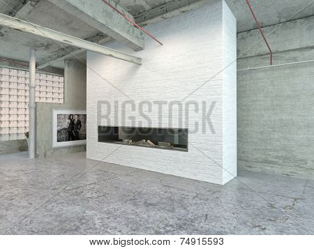3D Rendering of Stylish Architectural House Interior Design for Industrial Loft Area.