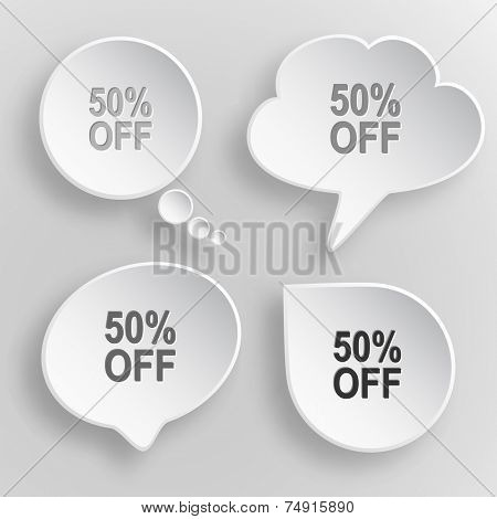 50% OFF. White flat vector buttons on gray background.