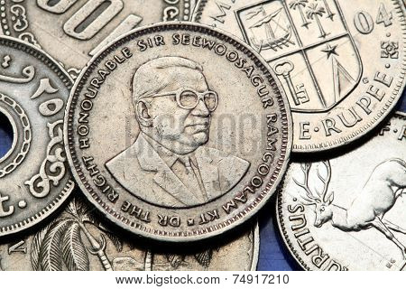 Coins of Mauritius. Sir Seewoosagur Ramgoolam depicted in the Mauritian rupee coin.
