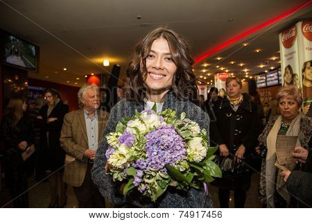 MOSCOW - OCTOBER, 7: Actress Marina Solovyeva. Premiere of the movie Solnechny Udar, October, 7, 2014 at Octyabr Cinema in Moscow, Russia