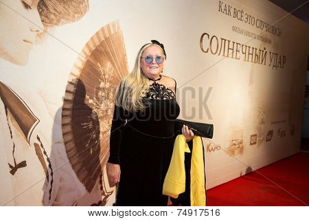 MOSCOW - OCTOBER, 7:Tatyana Mikhalkova. Premiere of the movie Solnechny Udar, October,7 , 2014 at Octyabr Cinema in Moscow, Russia
