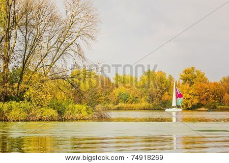 Sunday Rest On The River In Autumn Day