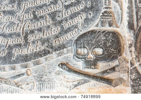 Skull On A Gravestone With Text