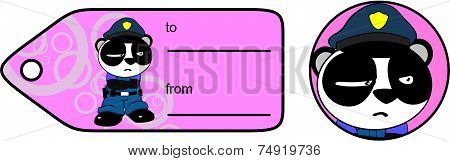 angry panda bear cop cartoon giftcard