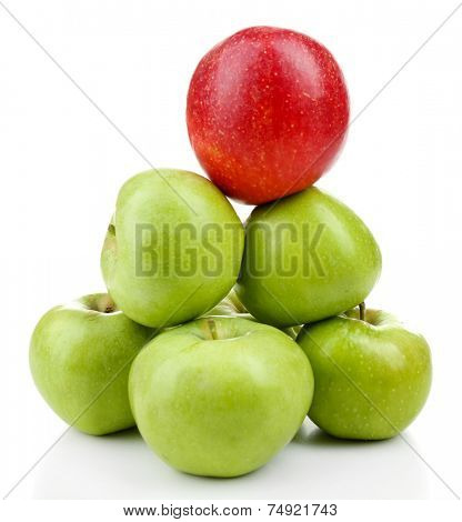 Juicy apples in shape of pyramid isolated on white
