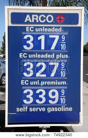 HUNTINGTON BEACH CALIFORNIA, USA - OCTOBER 24, 2014: Gas prices at ARCO on October 24, 2013 in Huntington Beach, AKA SURF CITY, California. Arco gas is usually .10 cents per gallon cheaper than others