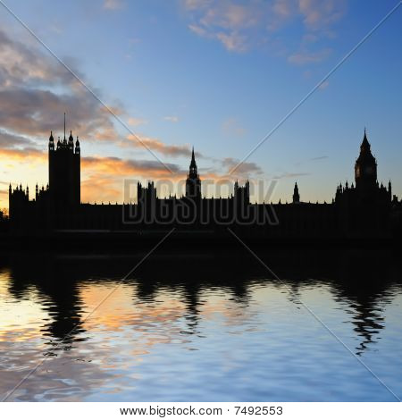 Silhouette Of Palace Of Westminster At Dusk