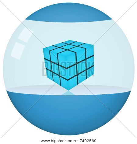 Futuristic Blue Sphere Product Container