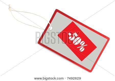 Sale Tag 50% Discount Label Isolated Closeup Macro
