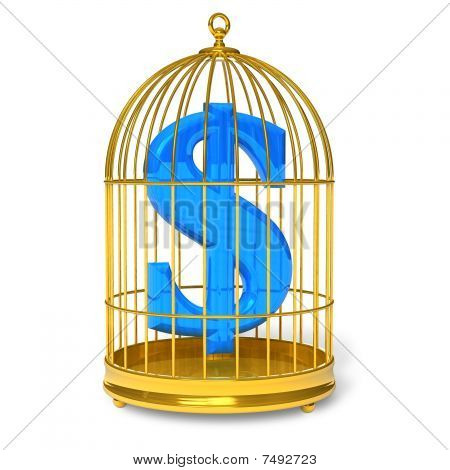 Dollar in cage