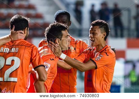 Sisaket Thailand-october 22: Players Of Sisaket Fc. In Action During Thai Premier League Between Sis