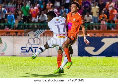 Sisaket Thailand-october 22: Santirat Viang-in Of Sisaket Fc. In Action During Thai Premier League B