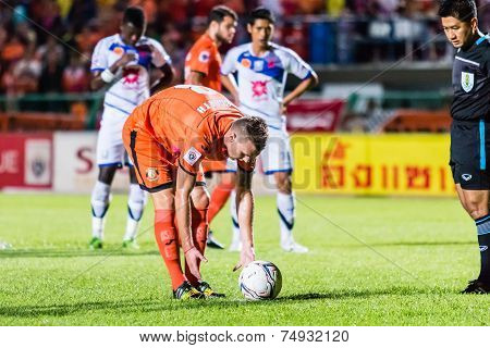Sisaket Thailand-october 22: Brent Mcgrath Of Sisaket Fc. Take Penalty Kick During Thai Premier Leag