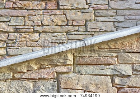 Building Facade Stone Wall With Ramp Or Stairway
