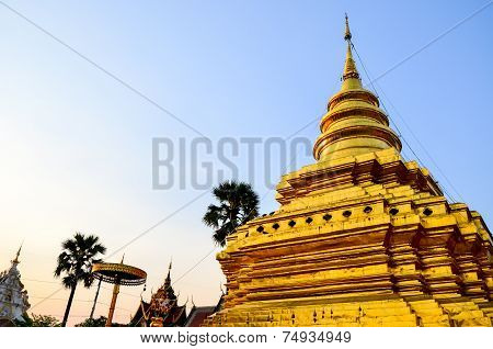 Golden Pagoda In A Temple Thailand At Northen Of Thailand